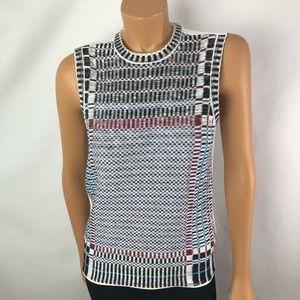 Tory Burch sleeveless top jacquard knit sweater Xs